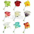 Wedding Bridal Groom Calla Lily Artificial Flower Boutonniere Corsage Brooch Pin