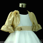 Champagne Gold White Christmas Flower Girls Dresses + Cardigan Set SZ 0-2-4-6-8Y