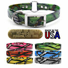 """Hunting Dog Pattern Name Collar 1"""" Strap Ring in Center & Brass Tag ID Plate"""