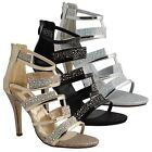 New Womens Metallic Ankle Strappy High Stiletto Heels Party Ladies Sandals Size
