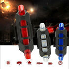 5X LED USB Rechargeable Bike Bicycle Cycling Tail Rear Safety Warning Light Lamp