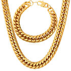 Stainless Steel Franco Chain Necklace Bracelet Gold Plated 12 MM Men Jewelry Set