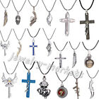 Punk Mens Women Stainless Steel Necklace Crucifix Cross Pendant Chain Jewelry