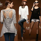 Women Stylish 3/4 Sleeve Patchwork Back T-shaped Lace T-shirt Top Tee Asymmetric