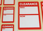 Bright Red SALE REDUCED CLEARANCE Price Point Stickers, Swing Tag Sticky Labels