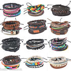 Handmade Women Fashion DIY Wooden Beads Leather Multilayer Bracelet Adjustable