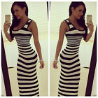 Women Sexy Boho Striped Sleeveless Casual Long Maxi Summer Beach Dress Sundress-