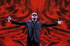 George Michael Blue Suit Red Background WALL ART CANVAS FRAMED OR POSTER PRINT
