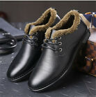 Mens Genuine Cow Leather Shoes Winter Velvet Smart Causal Lace up Shoes UK 5-9