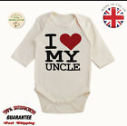 Organic Cotton I Love Uncle Baby Toddler Vest Long Sleeve Body Suits Grow