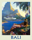 Bali Indonesian island Airplane Ocean Sea Travel Vintage Poster Repro FREE S/H