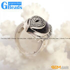Marquise Stone Beads Tibetan Silver Marcasite Ring Jewelry 18x30mm Free Shipping