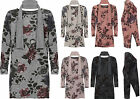 Plus Womens Scarf Baggy Top Ladies Side Slit Floral Print Long Sleeve New 16-26