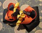 Thanksgiving Fall Leaves Boutique Hair Bow Brown Orange Yellow Festive Autumn