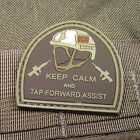 DESERT PVC KEEP CALM & TAP FORWARD ASSIST RUBBER MORALE PATCH VELCRO® BRAND HOOK