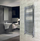 500mm Wide 1100mm High Curved Chrome Heated Towel Rail Radiator Central Heating