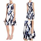 NEW COAST KASHMIR PRINT DANEEN DRESS FIT & FLARE OCCASION NAVY IVORY SZ 6 - 18