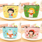 Apron Girl Print Coin Wallet Short Zipper Leather Girl Mini Coin Purse