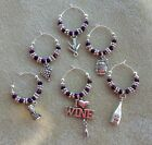 wine glass charms/ markers beautiful handcrafted set of 6 love my wine