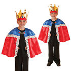 Childs New King Cape & Crown Kids Fancy Dress Costume World Book Week Outfit