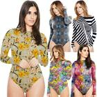 Women Long Sleeve Jumpsuit Printed Bodysuit Stretch Leotard Bottoming Shirt New