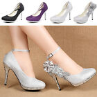 Glitter Sequins Strappy Women's Shoes Dress Wedding Prom High Heels Bridal Pumps