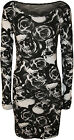 New Womens Skull Roses Print Long Sleeve Ladies Stretch Bodycon Mini Dress