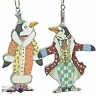 *Gisela Graham Hanging Wooden Glitter Circus Penguin Decoration Christmas Tree*