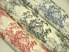 Regency Toile de Jouy Cotton Fabric -  Multi Use Upholstery Curtain Cushions