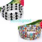 """7"""" 3 Row Faceted Crystal Glass Beads Cuff Bracelet Bangle Fashion Jewelry 1pc"""