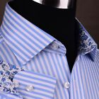 Mens Blue Formal & Business Dress Shirt Herringbone Twill Striped Floral Paisley
