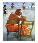 SIR JOHN LAVERY Girl in a Red Dress, Seated by Swimming Pool NEW CANVAS PRINT!