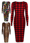 Ladies Printed Midi Dress New Womens Long Sleeved Leopard Stretch Dresses UK8-14