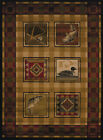 Brown Southwestern Lodge Carpet Bordered Checkered Boxes Fish Ducks Area Rug