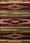 Red Southwestern Carpet Striped Diamonds Lines Rows Bars Synthetics Area Rug