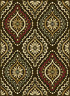 Brown Transitional Floral Area Rug Geometric Dots Casual Multi-Color Carpet