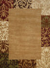 Red Contemporary Synthetics Leaves Blocks Floral Area Rug Bordered 710-00126