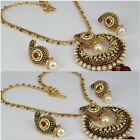 New Women Gold Plated Indian Fashion Jewelry Chain Pendant Necklace Set Earring