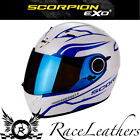 SCORPION EXO 490 LUZ WHITE BLUE FULL FACE MOTORCYCLE BIKE HELMET 5 YEAR WARRANTY