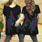 BLACK/BROWN PAISLEY FLOWER PLEATED CASUAL TUNIC TOP 3112 SIZE M L XL
