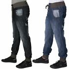 Rawcraft Designer Mens Regular Fit  Cuffed Jeans Elasticated Waist Denim Pants
