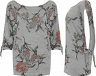 Womens Knitted T-Shirt Top Ladies Tie Up Short Sleeve Floral Print Round Neck