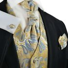 Mimosa and Sky Blue Paisley Tuxedo Vest, Tie and Accessories by Paul Malone