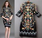 Women fashion New arrival occident show runway Vintage Palace printing Dress