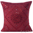 "16/20/24"" Burgundy Mirror Embroidered Decorative Cushion Pillow Throw Cover Boho"