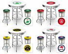 VINTAGE GAS GARAGE AUTO SHOP THEMED ROUND BAR TABLE & CHROME BAR STOOLS SET