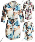 NEW WOMENS LADIES SHIRT DRESS LONG SLEEVE TIE BELT BLOUSE TOP Size 8 to 16