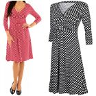 Glamour Empire Women's Softly Draping Polka Dot Dress Summer Spot Dress 017
