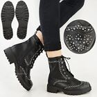 New Womes Ladies Ankle Boots Studded Punk Goth Chunky Biker Lace Up Army Size