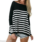 2017 Womens Fashion Loose Shirt Striped Long Sleeve Crew Neck Blouse Top T-Shirt